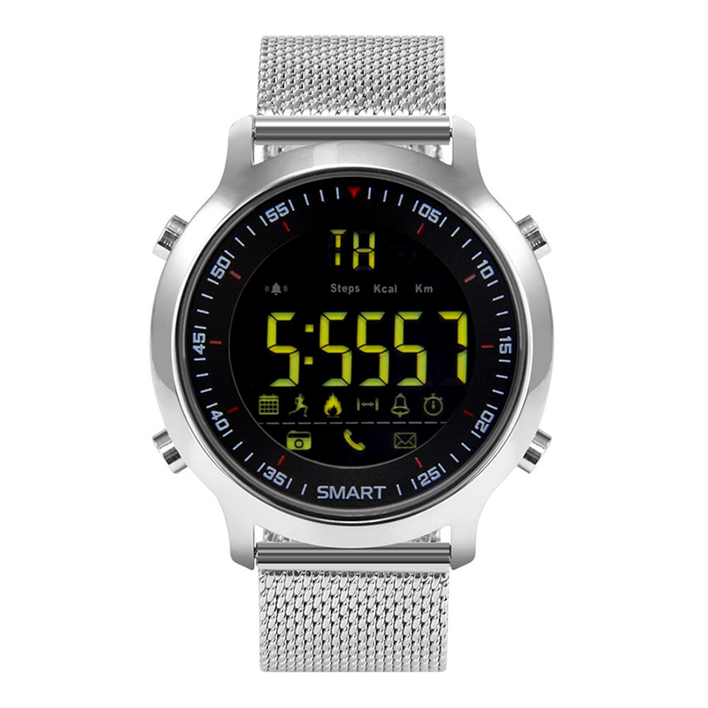 Bluetooth Watch - Up To 12 Months Battery Life, IP67, Pedometer, Call Reminder, Message Reminder, Social Media Reminder (Silver)