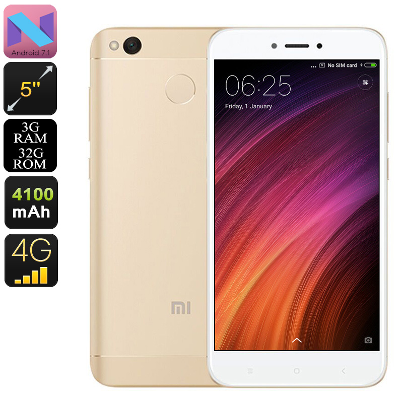 Android Phone Xiaomi Redmi 4X - Snapdragon 435 CPU, 3GB RAM, 5 Inch HD Display, Dual-IMEI, 4G, Fingerprint, 13MP Camera (Gold)