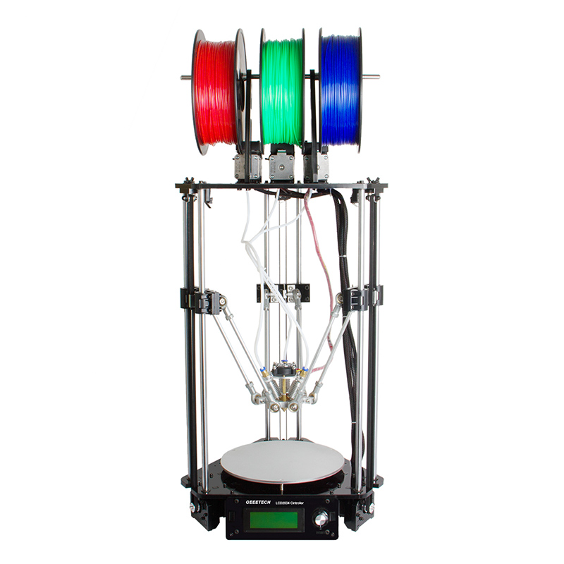 Geeetech Rostock 301 Mix Color 3D Printer - 3 Color Support, Use Different Filament At Once, Large Volume, 0.1mm Precision