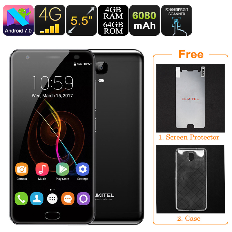 HK Warehouse Oukitel K6000 Plus Android Phone - Dual-IMEI, 6080mAh, Octa-Core CPU, 4GB RAM, Android 7.0, 1080p (Black)
