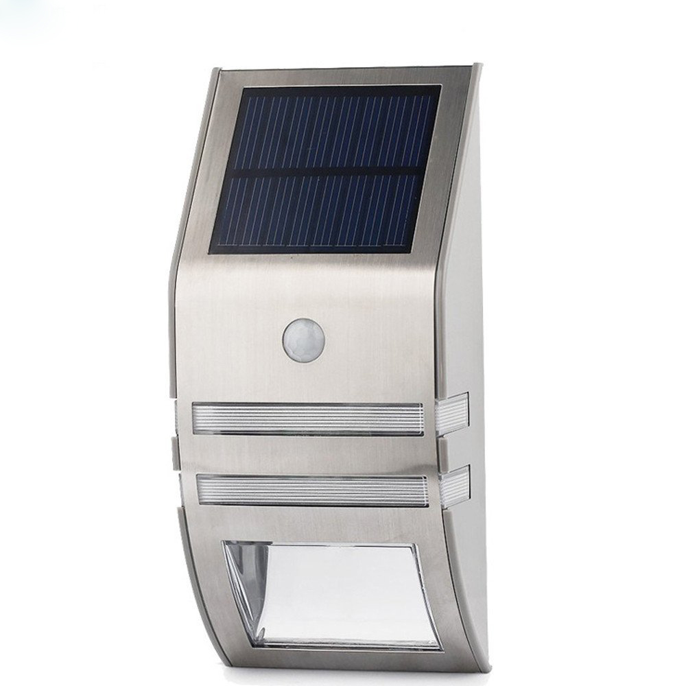 Outdoor Solar Powered LED Security Light - 50 lumens, Motion Detection, IP44, 5.5V Polycrystalline Solar Panel (Silver)