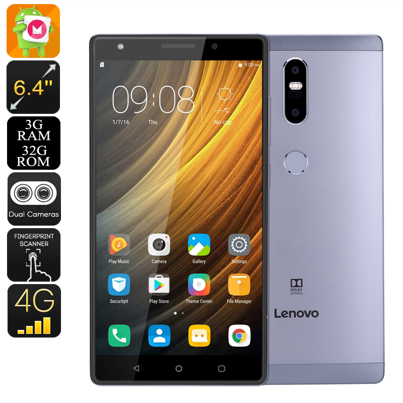 Lenovo Phab 2 Plus Android Smartphone - Dual-SIM, Octa-Core CPU, 3GB RAM, Android 6.0, 6.44 Inch FHD, 4G, 13MP Dual-Cam (Gray)