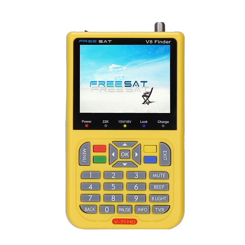 Freesat V8 DVB-S2 HD Satellite Finder - 3.5 Inch LCD Screen, 3000mAh Battery, 6000 Channels, AV/HDMI Out Function