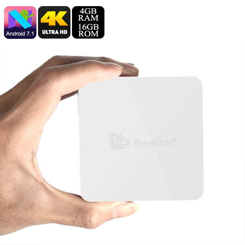 Beelink A1 Android TV Box - Android 7.1, Quad-Core CPU, 4GB RAM, 4K Support, Miracast, WiFi, Bluetooth 4.1, Google Play