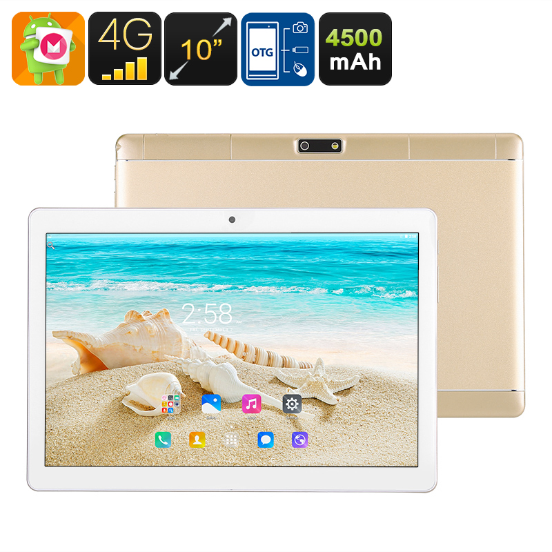 10 Inch Tablet PC - 4G, Dual SIM, Android 6.0, Quad Core CPU, 2GB RAM, OTG, SD Card Slot, FHD IPS Screen, 4500mAh Battery