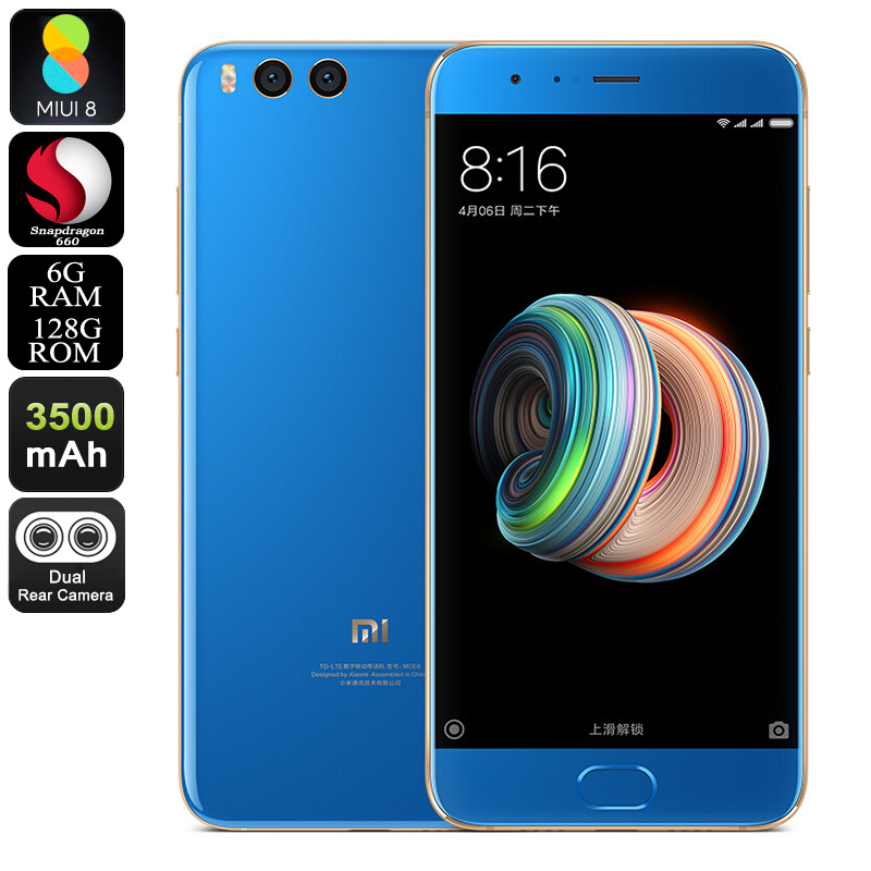 Xiaomi Note 3 Smartphone - Octa-Core Snapdragon CPU, 6GB RAM, 12MP Dual-Cam, Android 7.1, Face-ID, FHD Display, 3500mAh (Blue)