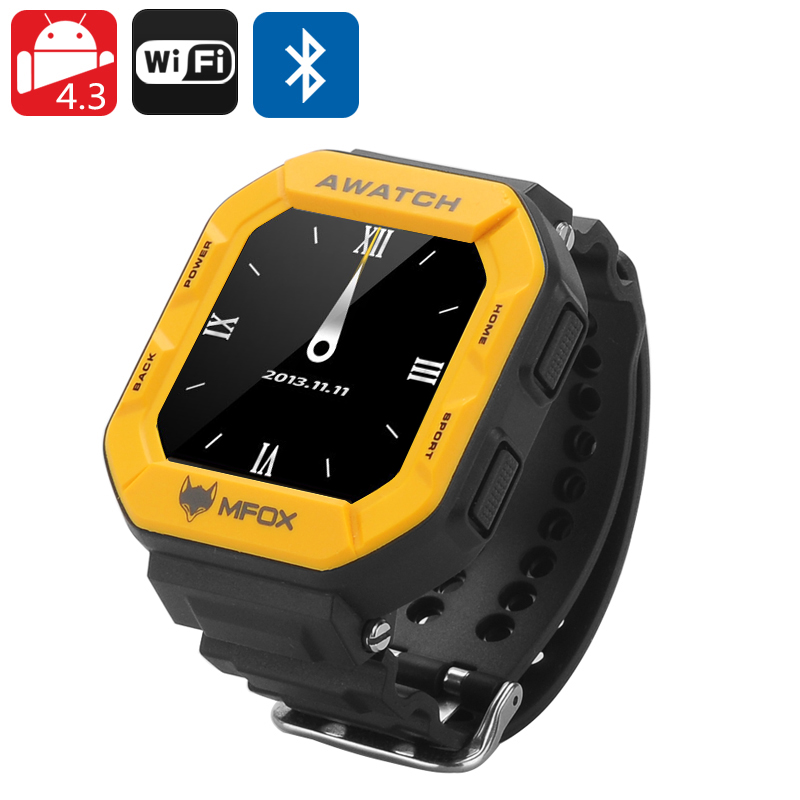 MFOX AWATCH - IP68 Heart Monitor Watch, Android 4.3 OS, Bluetooth 4.0, Fitness Tracking, 1.6 Inch Screen (Yellow)