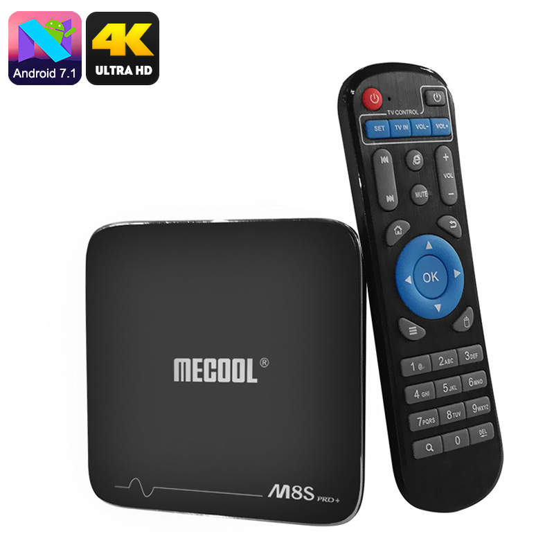 MECOOL M8S Pro Android TV Box - Android 7.1, Quad-Core CPU, 8GB ROM, 32GB SD Card Slot, 4K Support, WiFi, DLNA, Google Play