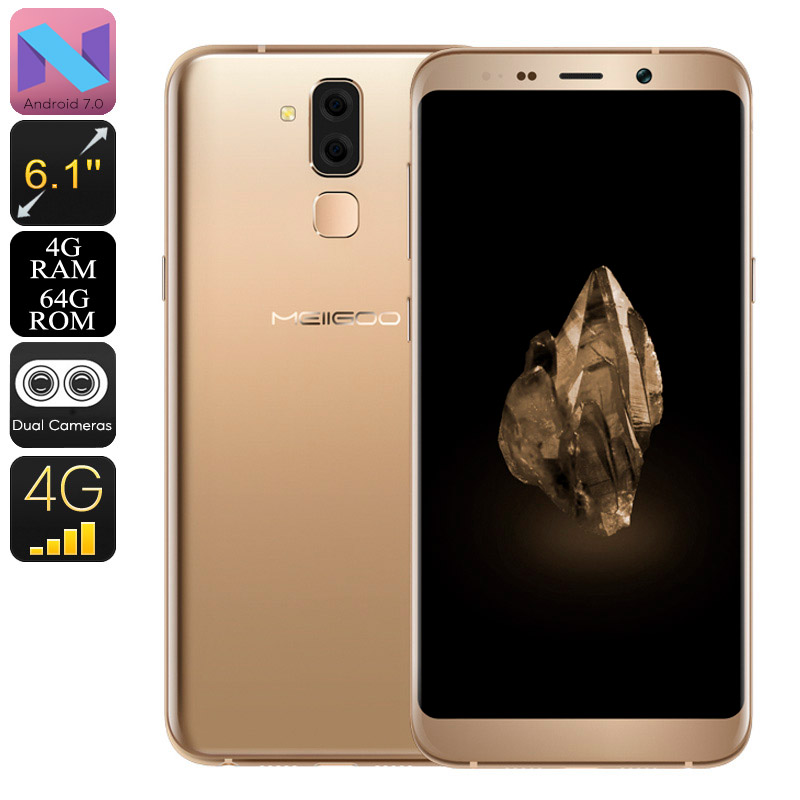 Meiigoo S8 Android Phone - Android 7.0, Octa-Core CPU, 4GB RAM, 6.1-Inch Full-HD, 13mp Camera, 4G, Dual-IMEI (Gold)