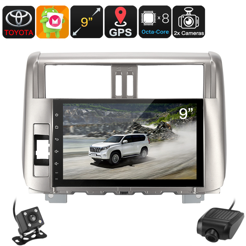 2 DIN Car Stereo - For Land Cruiser Prado, Car DVR, Rear View Camera, GPS, Android 6.0, WiFi, 3G, 9-Inch Display, Bluetooth
