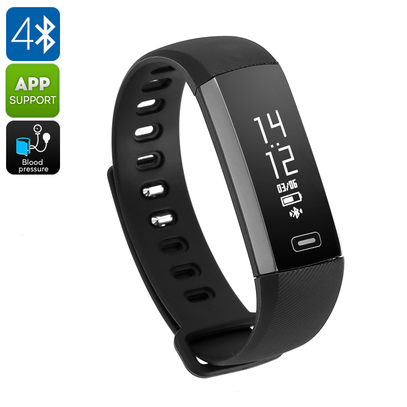 Fitness Tracker Bracelet M2S - IP67, Blood Pressure, Blood Oxygen, Heart Rate, Calorie Counter, Pedometer (Black)