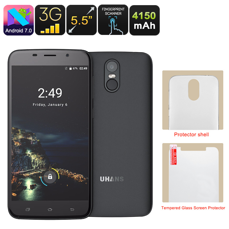 Uhans A6 Android Phone - Android 7.0, Quad-Core CPU, 2GB RAM, Dual-IMEI, 5.5 Inch HD Display, Google Play, 4150mAh (Black)