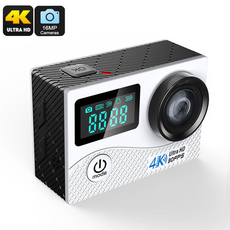 K2 Sports Action Camera - IP68 Waterproof, 2-Inch Display, 16MP CMOS Sensor, 170-Degree Lens, 4K Video, WiFi (Silver)