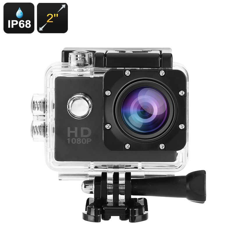 HD Action Camera - IP68 Case, 140-Degree Lens, 2-Inch Display, 5MP CMOS Sensor, 30FPS, 900mAh Battery, 32GB SD Card Slot