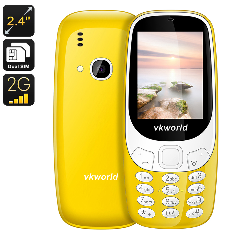 VKWorld Z3310 Cell Phone - 1450mAh, Number Pad, 2.4 Inch Display, Dual-IMEI, 2MP Camera, Bluetooth (Yellow)
