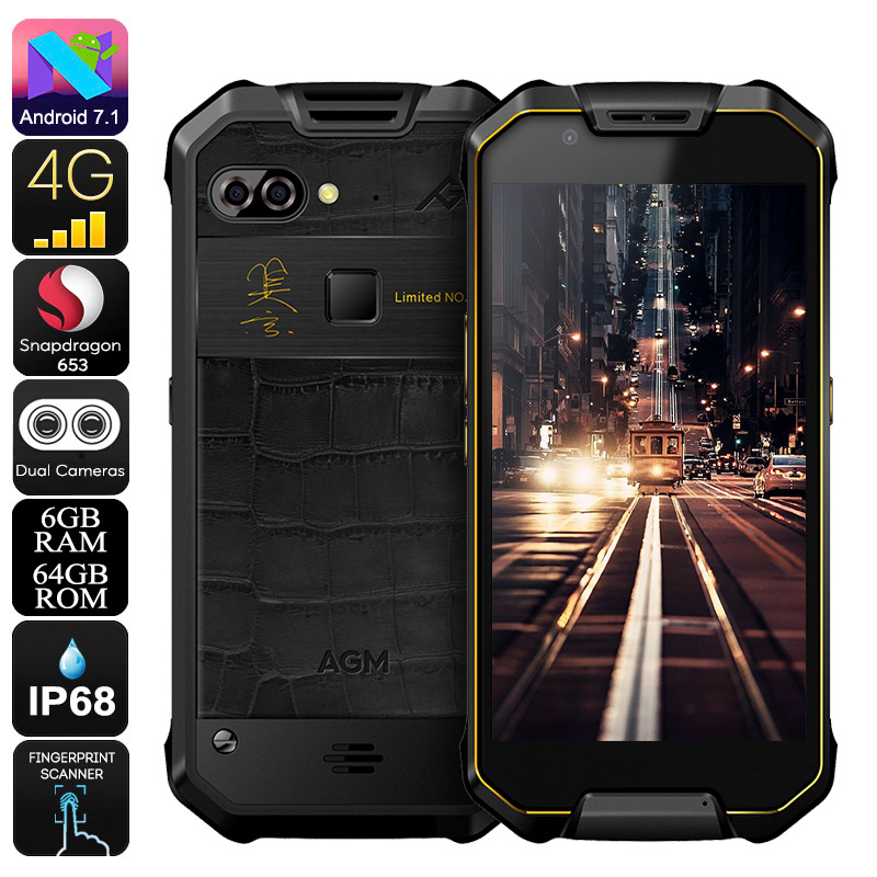 AGM X2 Rugged Phone - Android 7.1, 12MP Dual-Camera, IP68, Octa-Core CPU, 6GB RAM, 1080p Display, Dual-IMEI, 4G (Gold)