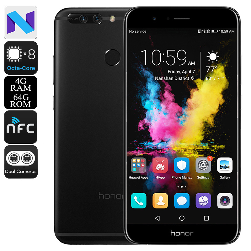 Huawei Honor V9 Smartphone - Octa Core CPU, 4GB RAM, 5.7 Inch 2K Screen, Dual Rear Cameras, Fingerprint Sensor (Black)