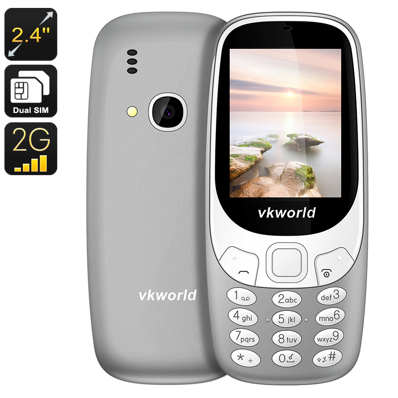 VKWorld Z3310 Cell Phone - Number Pad, Dual-IMEI, 2MP Camera, 1450mAh, 2.4-Inch Display, Bluetooth (Grey)