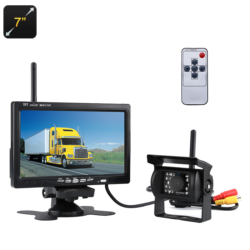 Rearview Parking Camera - 7-Inch Display, 2.4G Wireless Connection, Nightvision, Waterproof, 120-Degree Lens, 800x480p