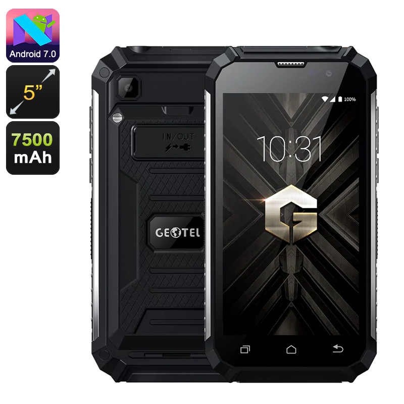 Geotel G1 Android Phone - Android 7.0, Dual-IMEI, 3G, Quad-Core, 2GB RAM, 5-Inch HD Display, 7500mAh, Google Play