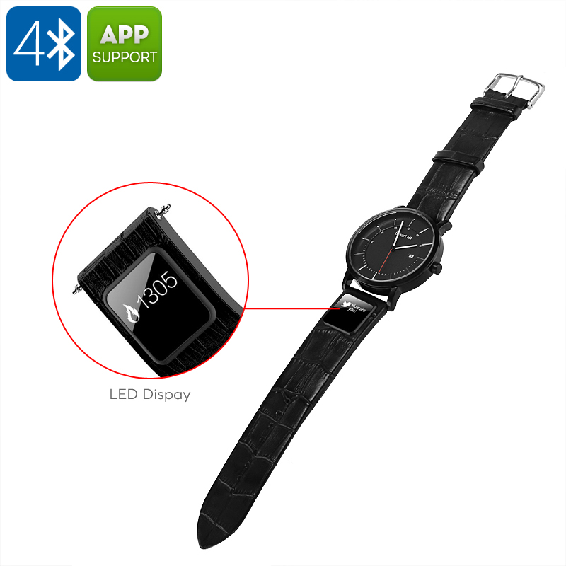 H1 Smart Sports Watch - Bluetooth 4.0, App, Text And Call Reminder, Pedometer, Calories Burned, Distance Tracker, Leather Straps