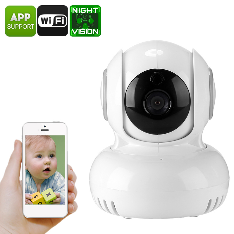 Indoor IP Camera - 1/4 Inch CMOS, PTZ, Remote Access, Motion Detection, IR Cut, Night Vision, 60-Degree Angle, WiFi, 720p