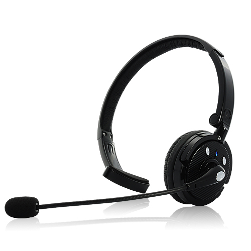 Bluetooth Headset with Boom Mic - 18 Hours Talk Time, Dual-Phone Connection