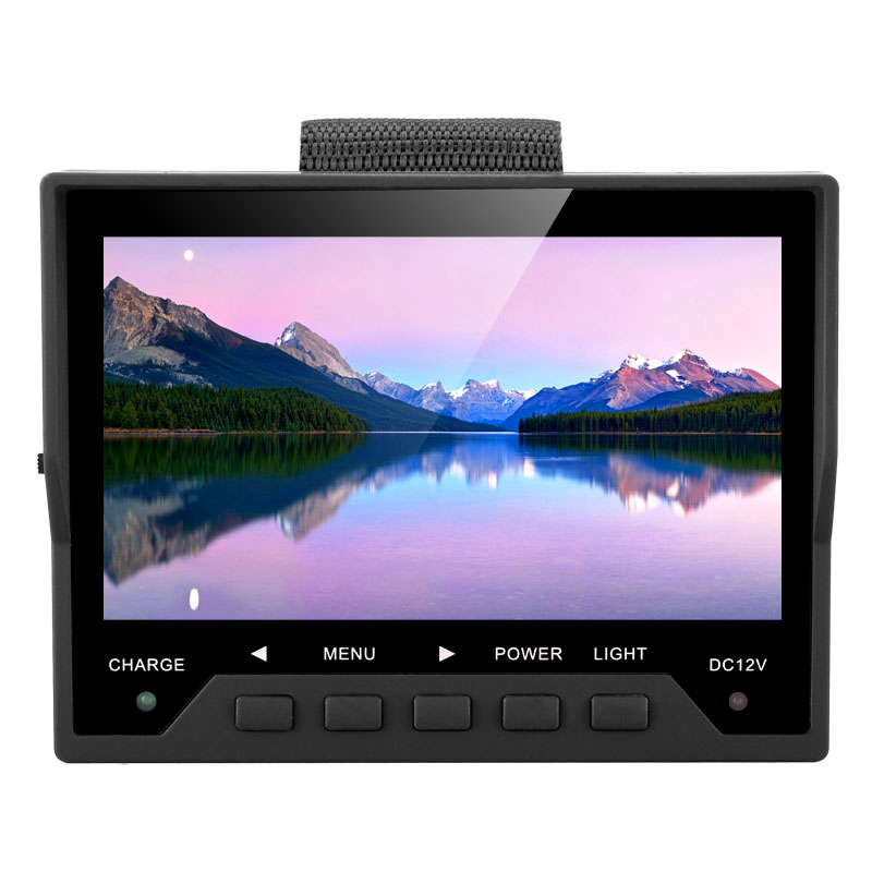 4.3 Inch CCTV Test Monitor - 480x272 Resolution, PAL/NTSC Support, 12V 0.5A Power Output, Wrist Strap, 2600mA Battery