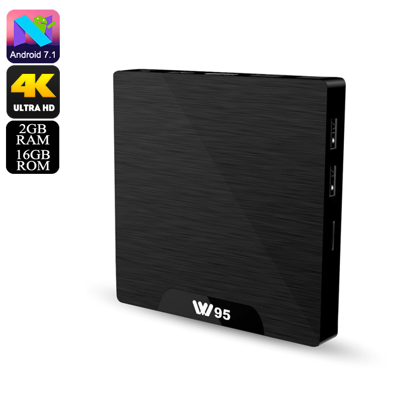 W95 Android TV Box - 4K Support, WiFi, Google Play, Kodi TV, Android 7.1, Quad-Core CPU, 2GB RAM, DLNA