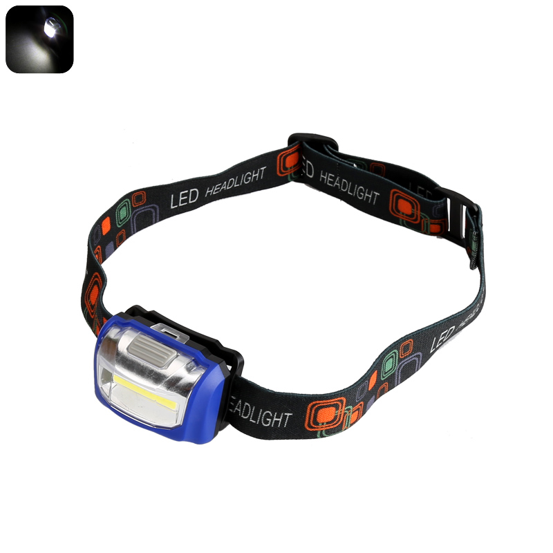 COB LED Headlight - Durable Design, 110 Lumen, 3 Light Modes, Weatherproof, Up To 100,000 Hour Service Life (Blue)