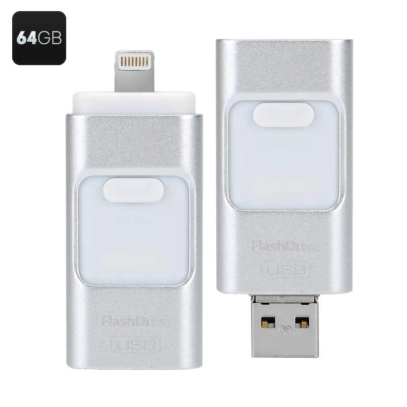 64GB Multi-functional USB Flashdisk - USB2.0, iOS, Android + Windows Interface, File Encryption