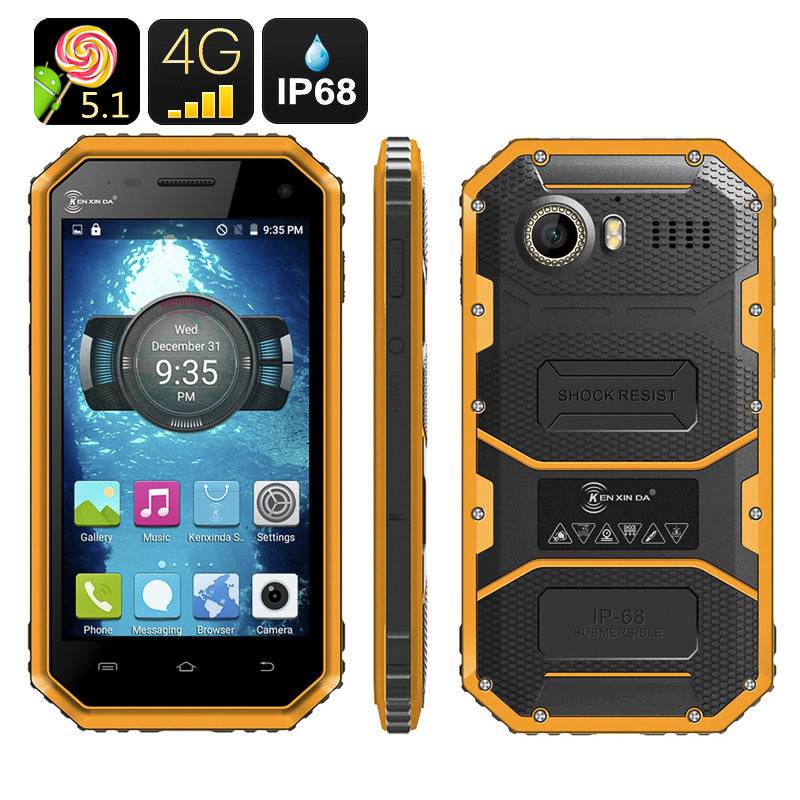 Ken Xin Da W6 Rugged Smartphone - IP68 Waterproof, Dust Proof, Shock Proof, 4G, Android 5.1, Dual SIM (Yellow)