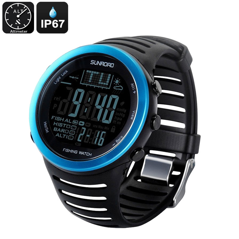 Sunroad FR720 5ATM Fishing Watch - Track 6 Locations, Air Pressure, Temperature, Water Depth, Weather Forecast, Altimeter, IP67