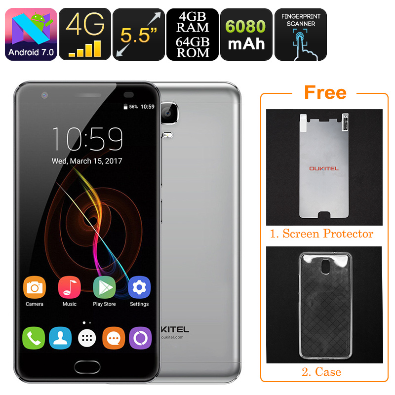 HK Warehouse Oukitel K6000 Plus Android Phone - Android 7.0, Octa-Core CPU, 4GB RAM, 1080p, 6080mAh, Dual-IMEI, OTG