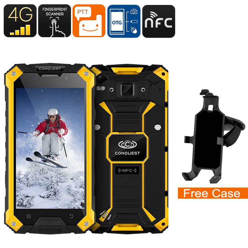 Conquest S6 Rugged Phone - Android 6.0, IP68, 5 Inch HD Display, Dual-Band WiFi, 4G, Octa-Core CPU, Fingerprint, NFC (Yellow)