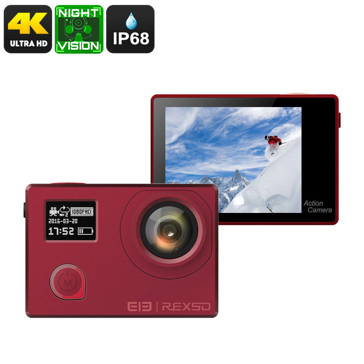 Elephone REXSO Explorer 4K Action Camera - Sony IMAX Sensor, Night Vision, IP68, Dual-Display, 4K, 16MP Picture (Red)