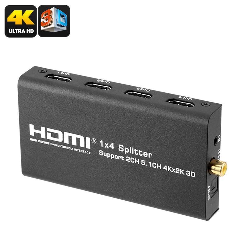HDMI Converter - 4x HDMI Out, 1x HDMI In, Supports 4K Media, Audio Support, 10.2Gbps Transfer Speed