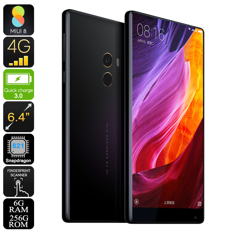 Xiaomi Mi Mix Smartphone - Bezel-less 6.4 Inch Screen, Android 6.0, Snapdragon CPU, 6GB RAM, 256GB Memory, 16MP Camera