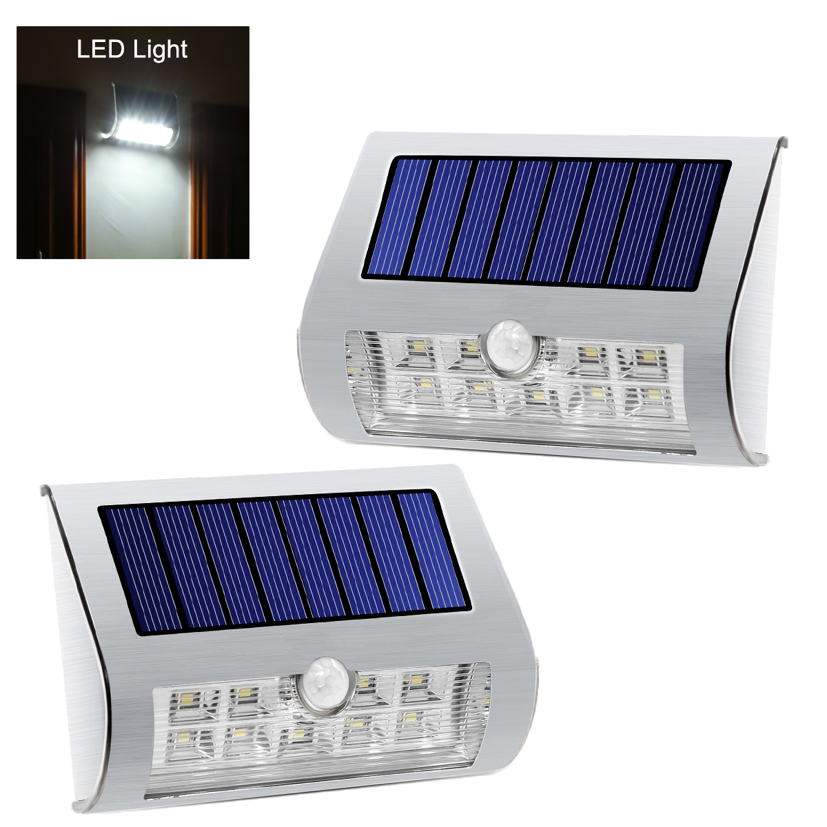 Solar Powered Outdoor LED Lights - 2 Pieces, Stainless Steel, IP44 Weatherproof, PIR Motion Detection, 80 Lumen