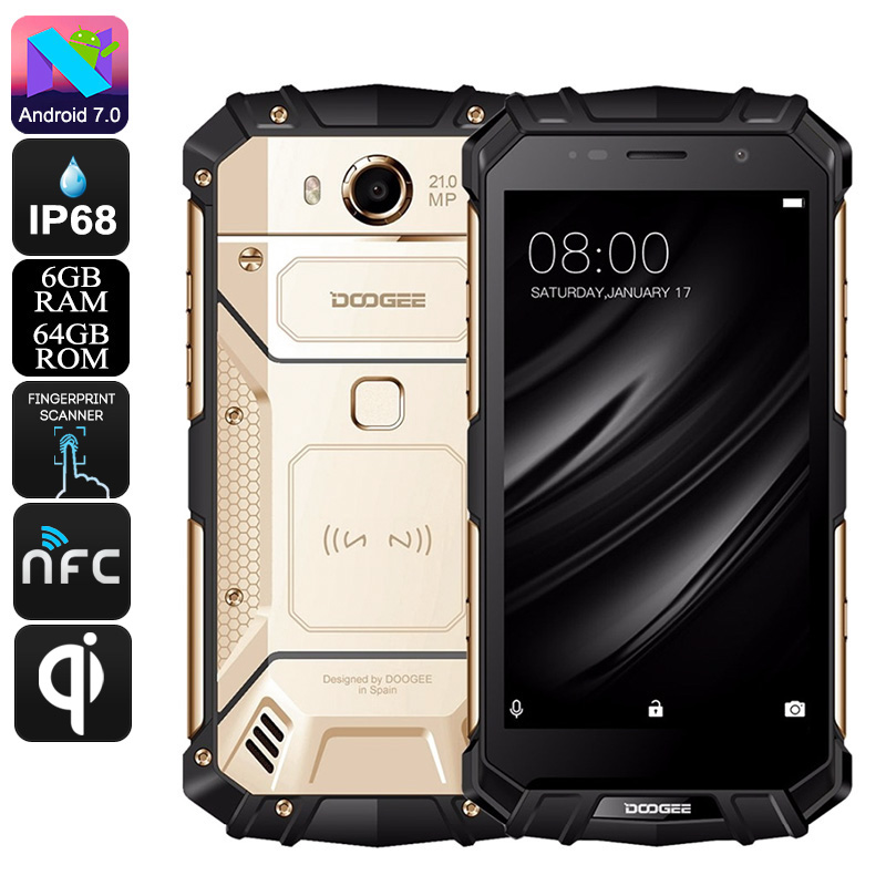 HK Warehouse Doogee S60 Android Phone - QI Wireless Charging, Octa-Core, 6GB RAM, Android 7.0, 1080p, 21MP Cam (Gold)