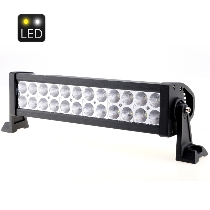 White Light Bar - 13.5 Inches, 72W 4300 Lumens, 24x 3W Epistar LEDs, Suitable For Flood Beam/Working/Driving, DC 10-30V