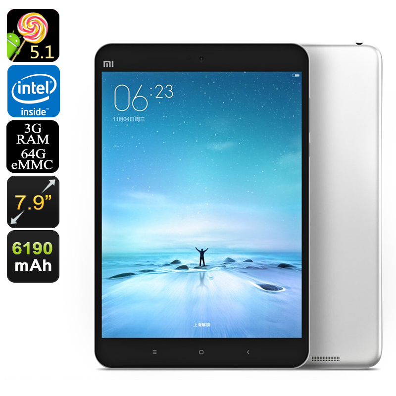 Xiaomi Mi Pad 2 Android Tablet - 64GB Memeory, 7.9 Inch 2K Retina Screen, Intel Atom CPU, 2GB RAM, Dual Band Wi-Fi (Silver)