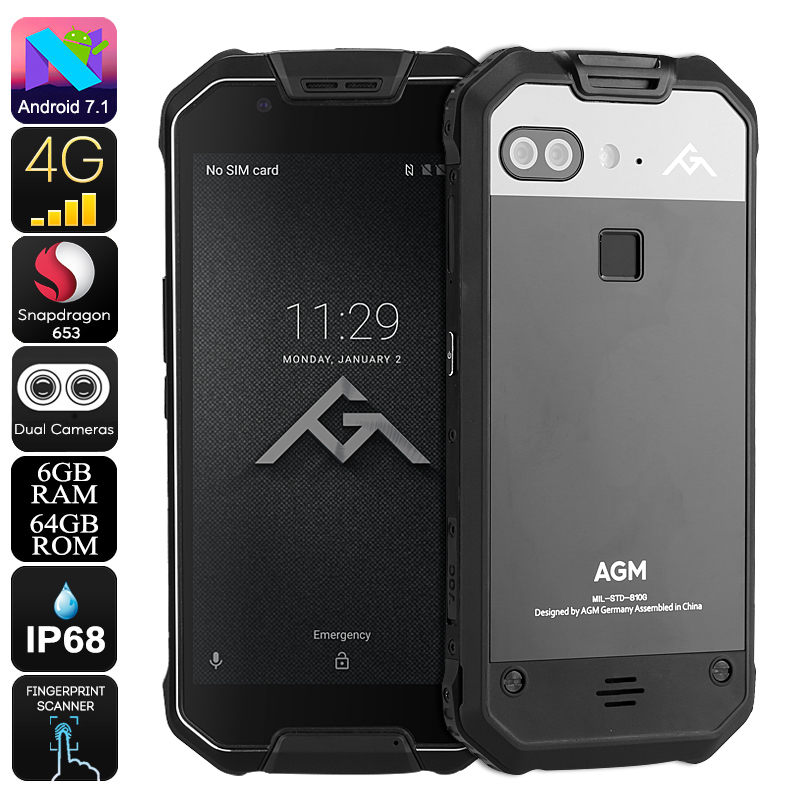 AGM X2 Rugged Phone - Android 7.1, Octa-Core CPU, 6GB RAM, IP68, 1080p Display, 12MP Dual-Camera, Dual-IMEI, 4G