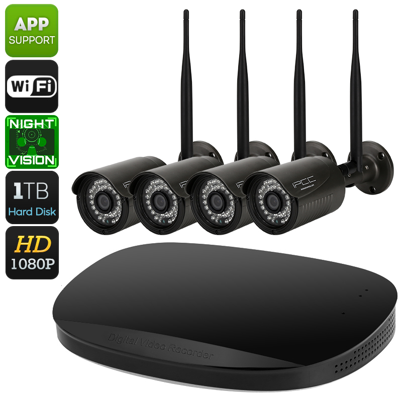 WiFi NVR Kit - 1080p Full-HD, IP66, IR Cut, 30m Night Vision, 4 Cameras, App Support For iOS And Android