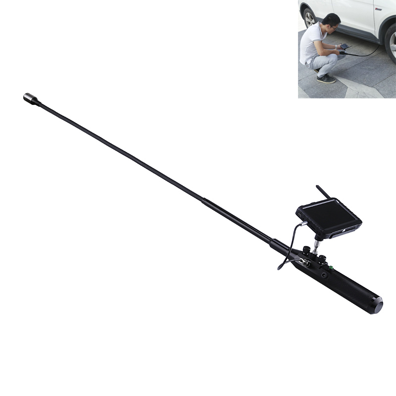 Under Vehicle Camera - 720p, Stainless Steel, Flexible Pipe, 120-Degree Angle, 12 LED Lights, IP68 Waterproof, 5-Inch Display