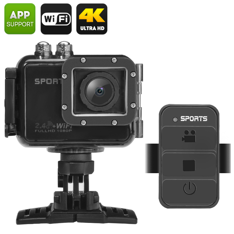 """UHD 4K Wi-Fi Action Camera """"PowerVision"""" - IP68 Waterproof, 120 Degree Wide Angle, 2 Inch TFT LCD Screen, Remote Control"""