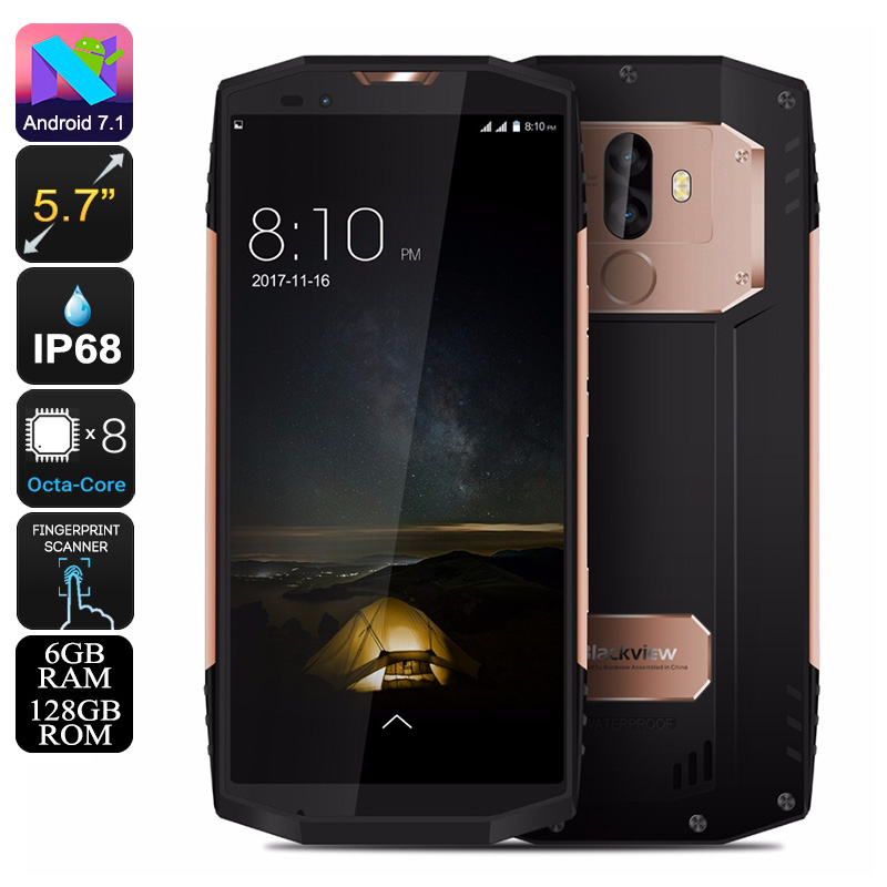 HK Warehouse Blackview BV9000 Pro Rugged Phone - 4180mAh, Octa-Core CPU, Android 7.1, 6GB RAM, IP68, 13MP Cam (Gold)
