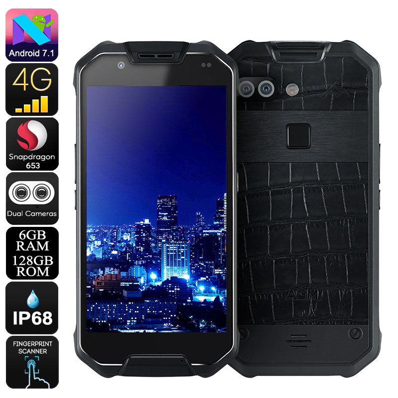 AGM X2 Rugged Android Phone - Android 7.1, 5.5-Inch FHD, IP68, Octa-Core CPU, 6GB RAM, 128GB ROM, Dual-IMEI (Leather)