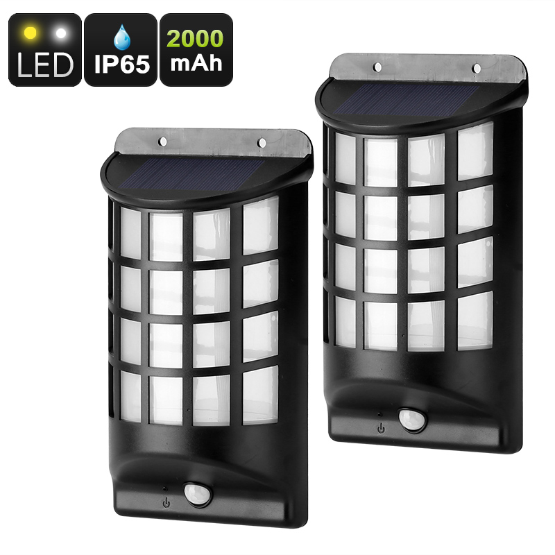 Outdoor Solar LED - 2 Pieces, PIR Motion Detection, IP65 Water Resistant, Solar Panel, 2000mAh