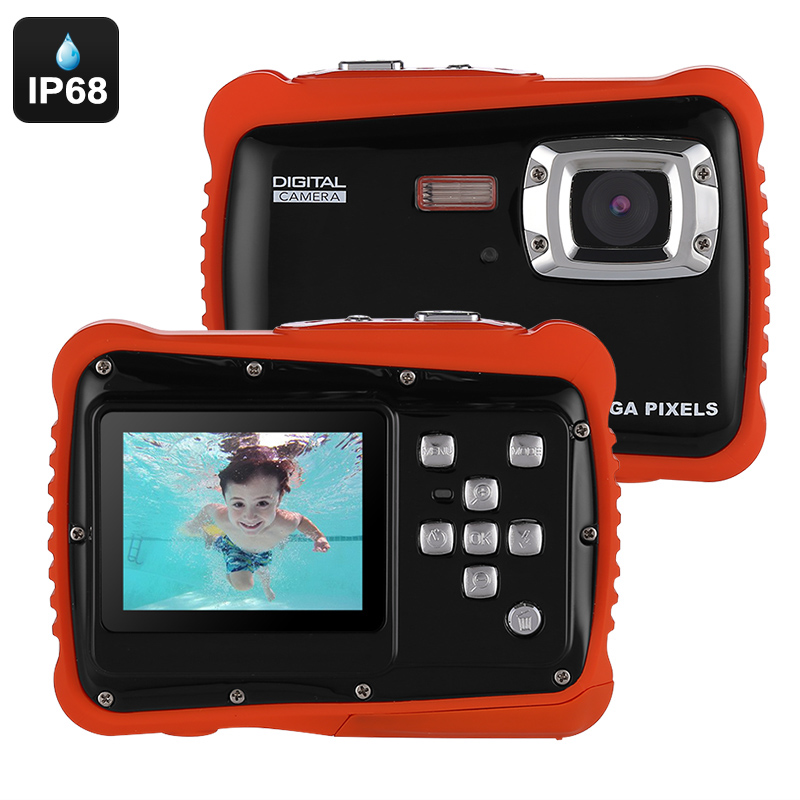 Powpro Kfun PP-J52 Underwater Camera - IP68 Waterproof, HD Video, 5MP Picture, 2-Inch Screen, 32GB SD Card (Black)